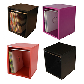 simple wood goods record storage cube