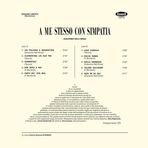 Giacomo Dell'Orso -A Me Stesso Con Simpatia