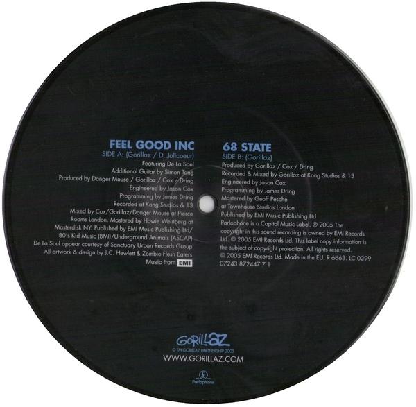 Gorillaz - Feel Good Inc, Colored Vinyl