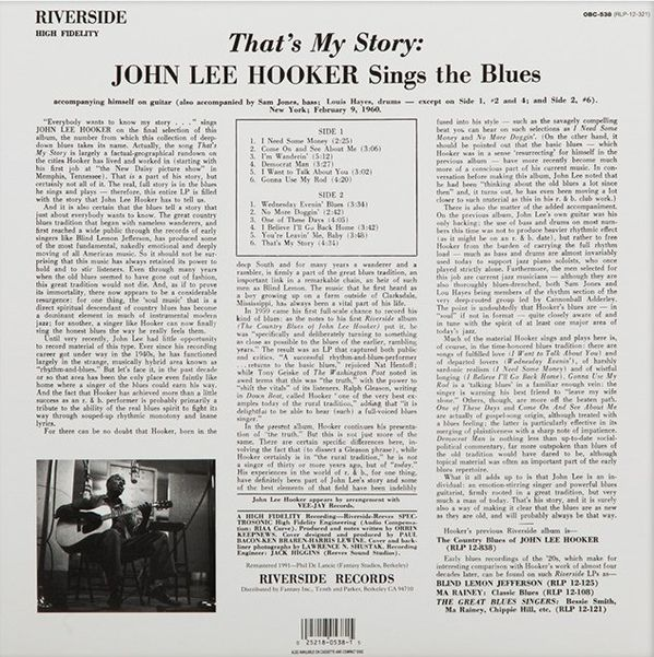 John Lee Hooker - That's My Story John Lee Hooker Sings The Blues