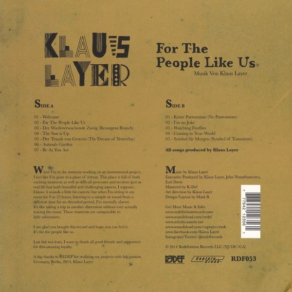 Klaus Layer - For The People Like Us