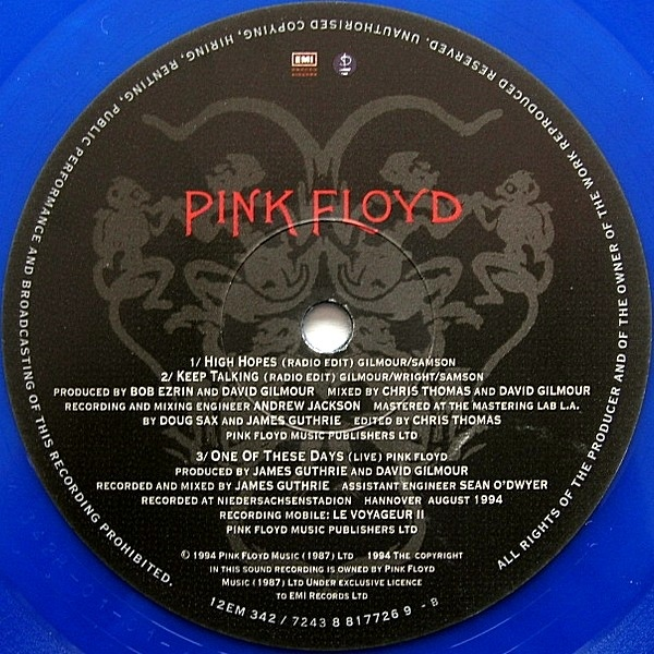 Pink Floyd High Hopes Keep Talking Colored Vinyl
