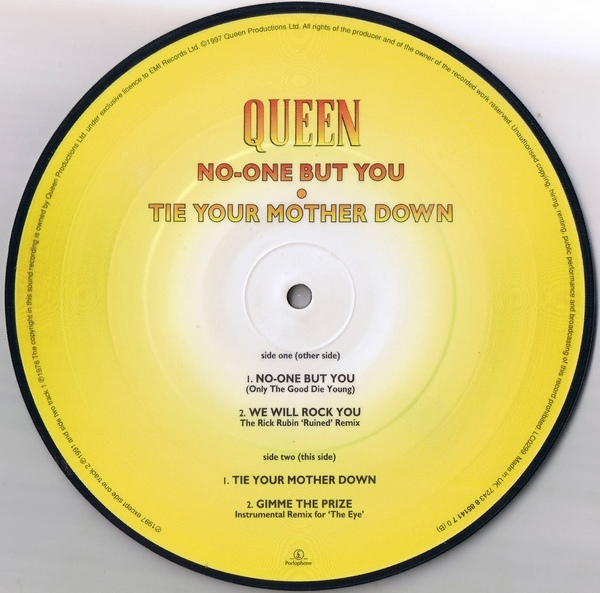 Queen No One But You Tie Your Mother Down Colored Vinyl