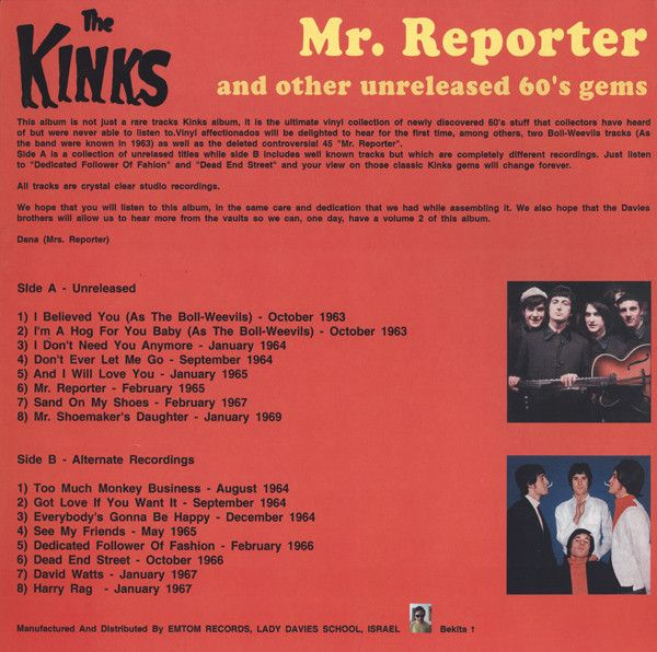 The Kinks -Mr. Reporter And Other Unreleased 60's Gems