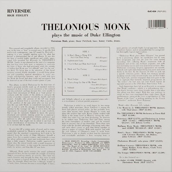 Thelonious Monk -Thelonious Monk Plays Duke Ellington
