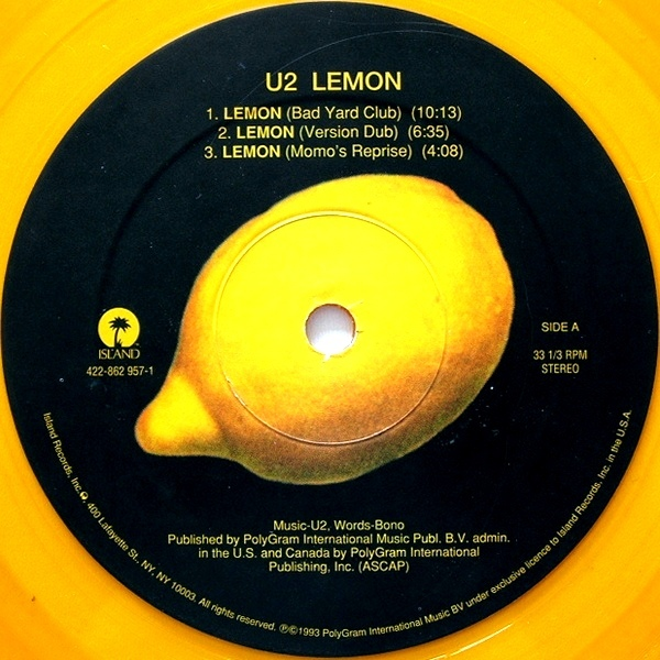 U2 Lemon Remixes Colored Vinyl