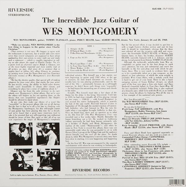 Wes Montgomery -The Incredible Jazz Guitar Of Wes Montgomery