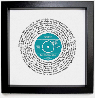 Framed personalized song lyrics print