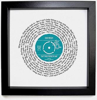 Framed personalized song lyrics print